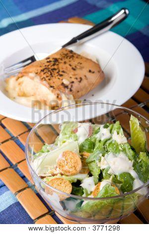 Seafood Mornay Filo And Caesar Salad