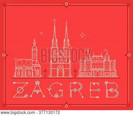 Skyline Zagreb, Croatia Vector City Buildings Line