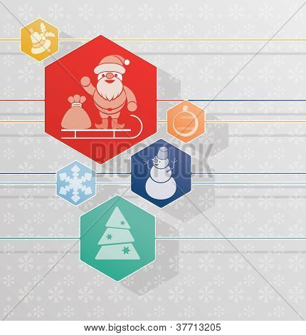 Christmas And New Year  Background With Santa Claus And Other Symbol