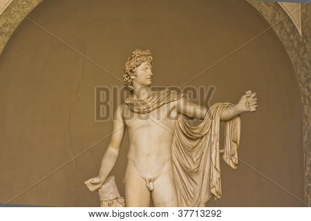 The Apollo Belvedere or Apollo of the Belvedere is Roman copy of Hadrianic date (ca. 120-140) of a lost bronze original made by the Greek sculptor Leochares. Belvedere courtyard Museo Pio-Clementino Vatican poster