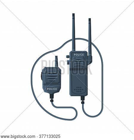 Modern Radio Transmitter Device, Police Car Communication Device Flat Vector Illustration