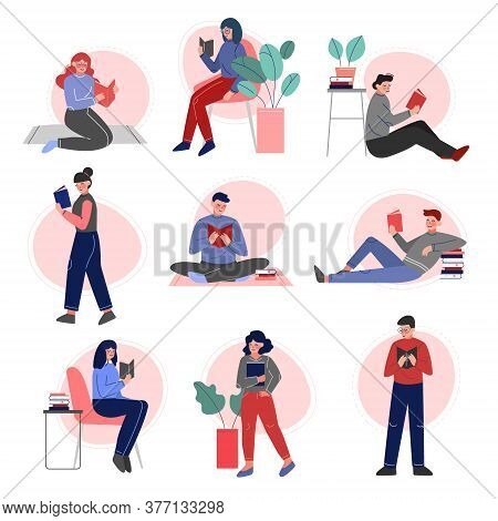People Reading Books Set, Male And Female College Or University Students, Young Man And Woman Enjoyi