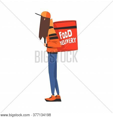 Food Delivery Girl Carrying Backpack Box, Teenage Courier Character Wearing Uniform With Parcel On H