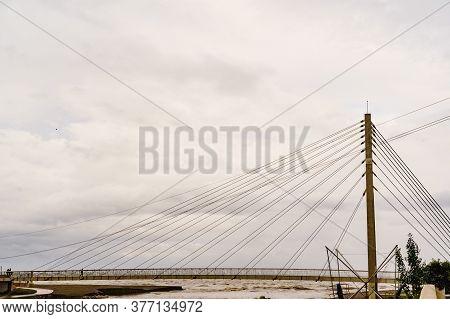Bridge Of The Navy, Armada Pedestrian Bridge Over The Rio Fuengirola On The Costa Del Sol In Spain.