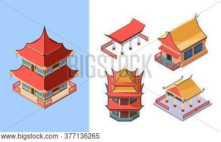 Oriental Temples And Palaces Isometric Set. Asian Traditional Buildings Ancient Chinese Style Japane