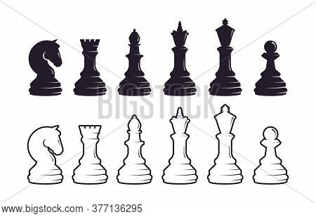 Chess Pieces Silhouette Set. Strategic Intellectual Game Black White Pieces Queen With King Rook And