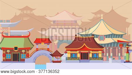 Ancient Asian Temples And Buildings Illustration. Traditional Chinese Buildings With Round Bridges A