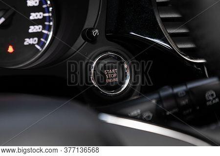 Car Engine Push Start Stop Button Ignition Remote Starter. Car Dashboard