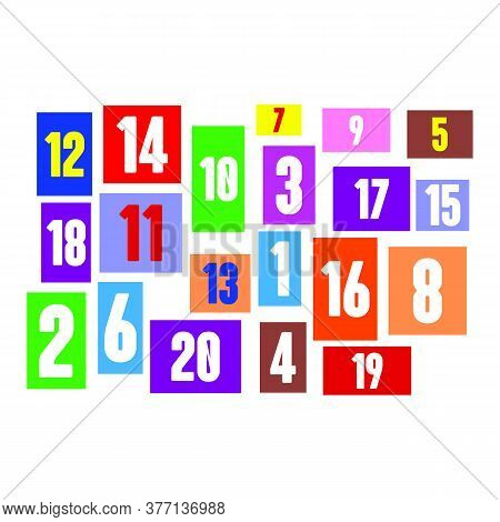 Square Colored Numbers For Children. Education In Kindergarten. Color Numbers From 1 To 20 Colored N