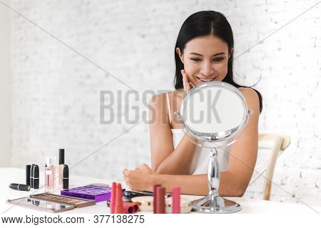 Smiling Of Young Beautiful Pretty Woman Clean Fresh Healthy White Skin Looking At Mirror.girl Touchi