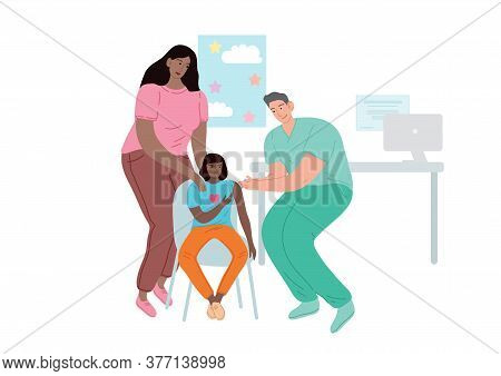 Doctor Vaccinating The Patient. A Woman With A Child At A Doctor Appointment.