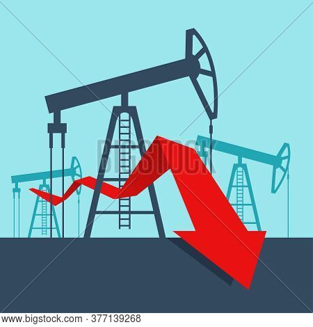 Oil Production Drop In - Derrick Towers  And Arrow Down - World Energy Carriers Vector Illustration