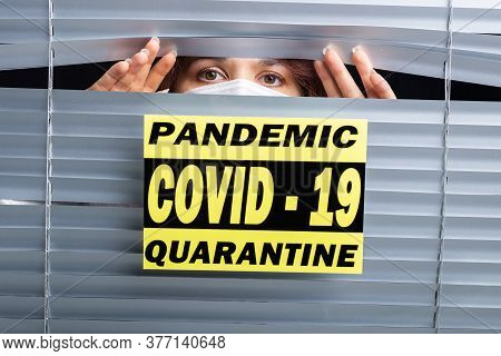 Hospital Quarantine Or Isolation Of Patient Standing Alone In Room With Hopeful For Treatment Of Cor