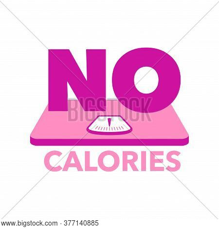 No Calories Sign - Non Kcal Certificated Quality Stamp For Low Fat Diet Food Products - Isolated Vec