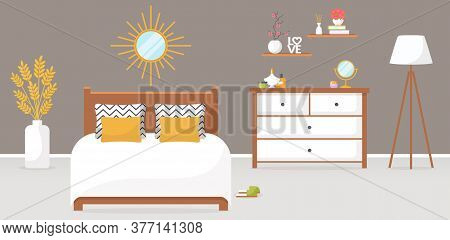 Bedroom Interior. Vector Illustration. Design Of A Trendy Cozy Room With Double Bed, Dresser, Mirror