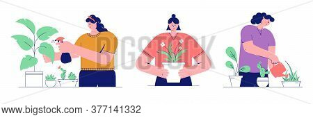 Houseplant Care Concepts. Young Women Cultivate Of Indoor Plants. Set Of Vector Illustrations Isolat