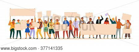 Protest People. Manifesting Man And Woman Activist Demonstrating Blank Sign. Vector Protest People H