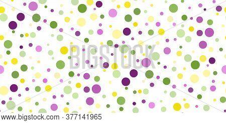 Seamless Horizontal Pattern Beautiful Geometric Yellow, Green, Purple Confetti On White Background.