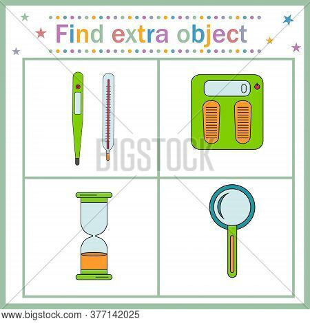 Map Game For Children's Development, Find The Extra Object, Where All The Objects Measure Time, Temp