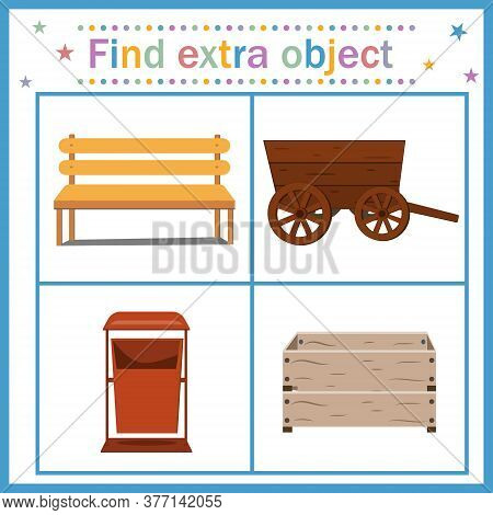 Map Game For Children's Development, Find An Extra Object Where All Objects Are Made Of Wood, Except