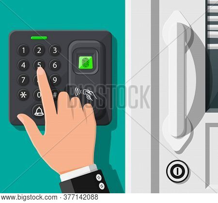 Password And Fingerprint Security Device At Office Or Home Door. Access Control Machine Or Time The