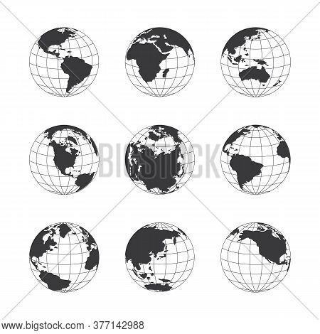 Vector Graphic Set Of Nine Globes Depicting The Earth With Continents And Oceans