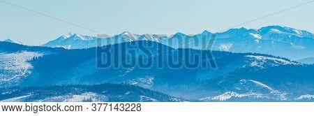 Zaoadne Tatry Mountains From Brestova To Velka Kamenista Peak And Nearer Hills Of Beskid Zywiecki Mo