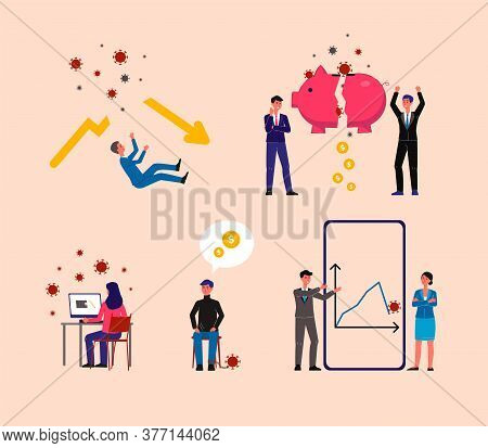 Global Economic Crisis And Financial Market Lowdown Set With Business People Characters, Flat Vector