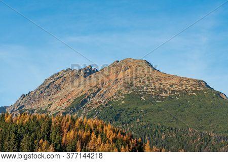 Patria And Mala Basta Mountain Peaks From Strbske Pleso In Vysoke Tatry Mountains In Slovakia During