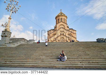Tbilisi, Georgia - October 21, 2019: Big Orthodox Cathedral St. Trinity Or Chirch Sameba In Tbilisi