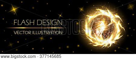 Electric Ball, Lightning Circle Strike Impact Place, Plasma Sphere In Golden Color With Stars Isolat