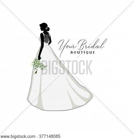 Beautiful Bride With Flower Bouquet, Bridal Boutique Logo, Bridal Brocade Gown Logo Vector Design Te