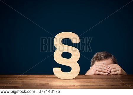 Fraud Cheater Person Hide From The Law Concept. Cheater Hide Behind The Table And Try To Don't See L