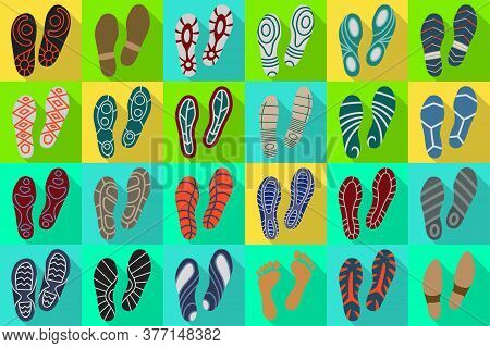 Print Of Shoe Vector Flat Set Icon.vector Illustration Print Of Sole Shoe On White Background . Isol
