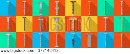 Metal Fasteners Flat Vector Set Icon.vector Illustration Isolated, Icon Metal Screw And Bolt On Whit