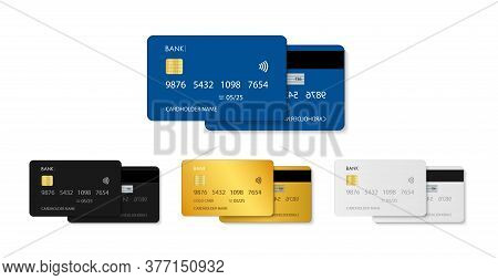 Card Credit. Bank Debit Plastic Card. Template In Front With Chip. Design Mockup For Money, Payment,