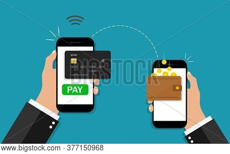 Money Transfer From Phone. Online Payment In Mobile. Hand Holding Smartphone With Transaction Of Cas