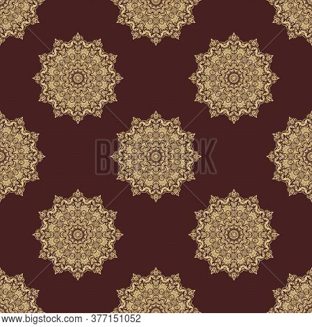 Orient Vector Classic Pattern. Seamless Abstract Background With Vintage Golden Elements. Orient Bro