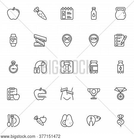Healthy Lifestyle Line Icons Set. Linear Style Symbols Collection, Outline Signs Pack. Fitness Diet