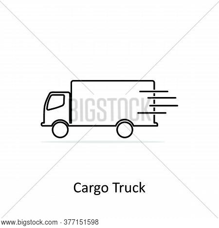 Simple Line Cargo Truck Icon Isolated On White Background. Cargo Truck Icon Line. Cargo Truck Icon S