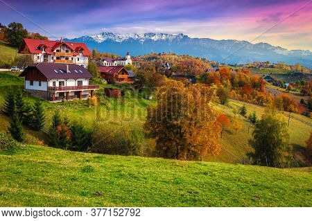 Popular Rural Touristic Places With Spectacular Gardens And High Snowy Mountains In Background. Autu