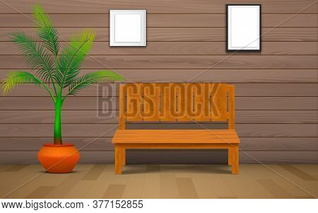 Wooden Chair And Plant With Picture Frame In The Wood House