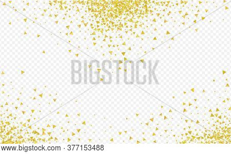 Gold Shards Paper Transparent Background. Holiday Dust Pattern. Golden Rain Luxury Texture. Shine Tr