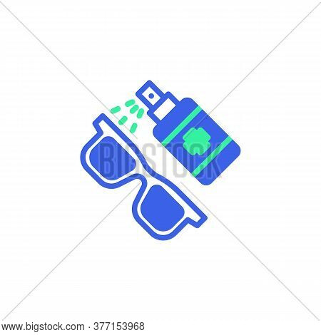 Eyeglasses Disinfection Icon Vector, Filled Flat Sign, Sanitize Glasses Bicolor Pictogram, Green And