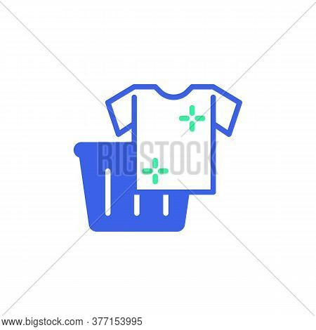 Clothes Basket Icon Vector, Filled Flat Sign, Laundry Basket And Shirt Bicolor Pictogram, Green And