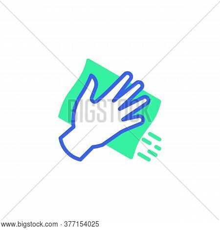 Surface Wiping, Disinfection Icon Vector, Filled Flat Sign, Hand With Cleaning Napkin Bicolor Pictog
