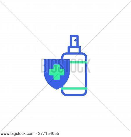 Antibacterial Sanitizer Bottle Icon Vector, Filled Flat Sign, Alcohol Sanitizer Gel Bicolor Pictogra