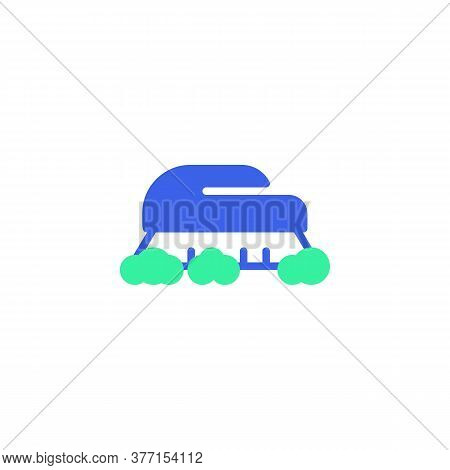 Cleaning Brush Icon Vector, Filled Flat Sign, Brush And Soap Foam Bicolor Pictogram, Green And Blue