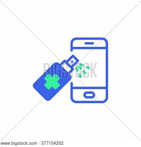 Sanitize Smartphone Icon Vector, Filled Flat Sign, Disinfect Phone Bicolor Pictogram, Green And Blue