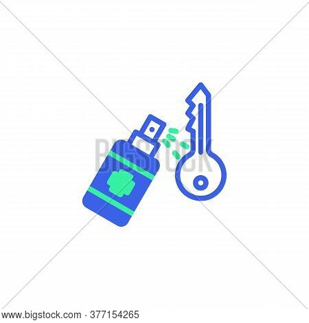 Key Disinfection Icon Vector, Filled Flat Sign, Sanitize Keys Bicolor Pictogram, Green And Blue Colo